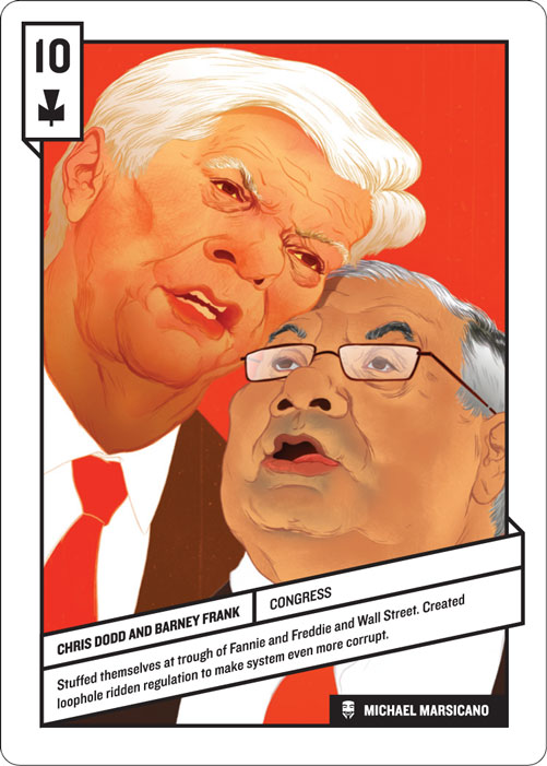 10 of Clubs, Chris Dodd and Barney Frank by Michael Marsicano