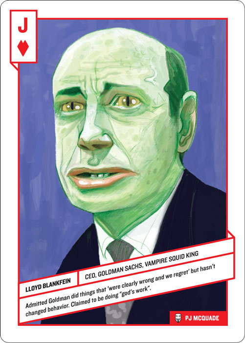 Jack of Hearts, Lloyd Blankfein by PJ McQuade