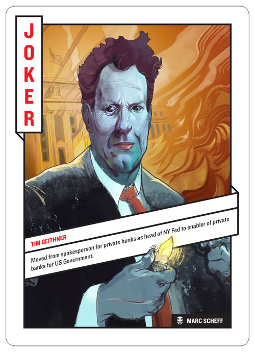 Joker card, Tim Geithner by Marc Scheff